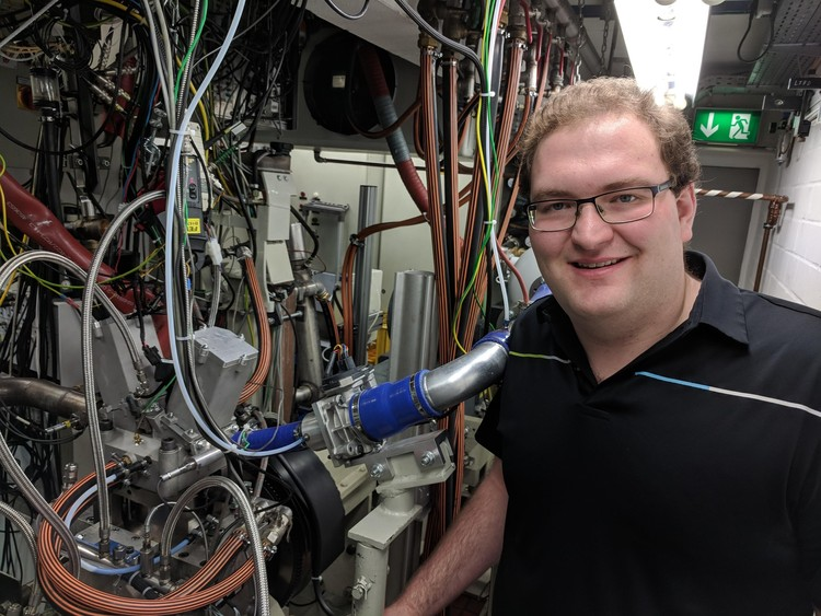 Future Energy Systems HQP David Gordon in his lab at the Institute for Combustion Engines at RWTH Aachen, Germany.