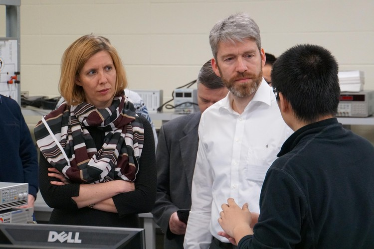 Professors Anna Grevé and Christian Doetsch tour the lab of Future Energy Systems Principal Investigator Ryan Li.