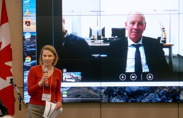 Lori Thorlakson, Director of the University of Alberta's European Union Centre of Excellence, with Mayor Bernd Tischler of the City of Bottrop (live via video).